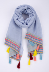 Denim blue tassel scarf