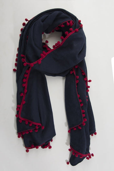 Navy Blue and Burgundy Pom Pom Scarf