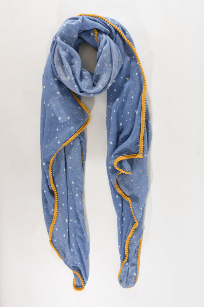 Denim Blue & Mustard Stars and Hearts Trim Scarf - Aurina Ltd