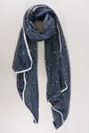 Navy & White Stars and Hearts Trim Scarf - Aurina Ltd