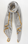 Light Grey & Mustard Stars and Hearts Trim Scarf - Aurina Ltd