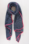 Navy Blue & Fuschia Stars and Hearts Trim Scarf - Aurina Ltd