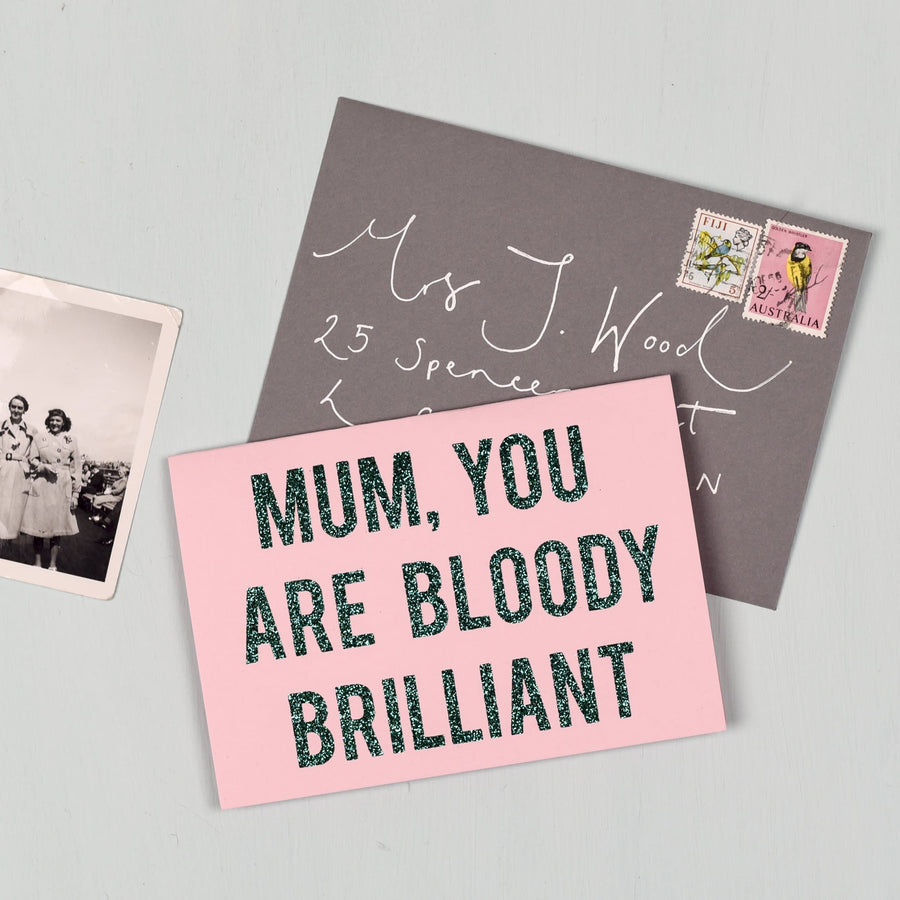 Oh Squirrel Mum Brilliant Glitter Card - Aurina Ltd