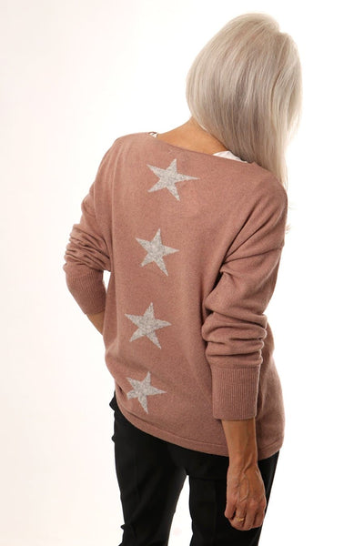 Pink and Grey Back Stars Jumper