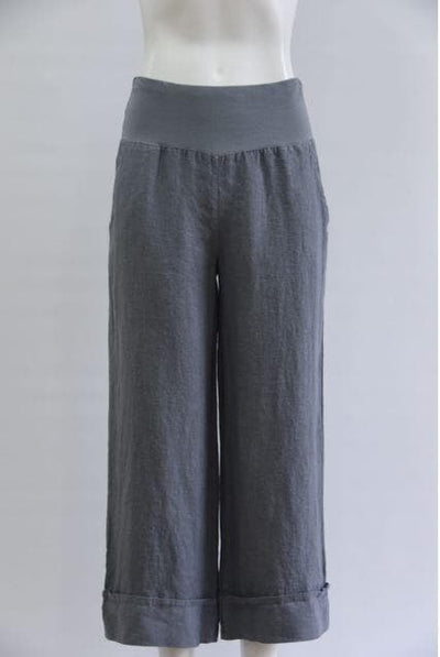 3/4 Linen Trouser with jersey waistband - Aurina Ltd
