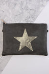 SnakeSkin Star Motif Clutch Bag