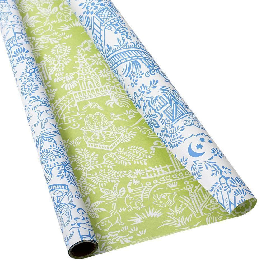 "Reversible Wrapping Paper - Blue & Green Pagoda Toile - 30"" x 5' - Aurina Ltd"