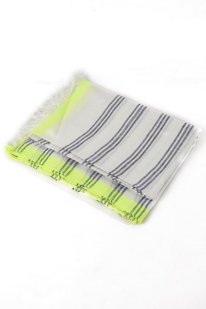Simple stripe scarf with a colour pop! - Aurina Ltd