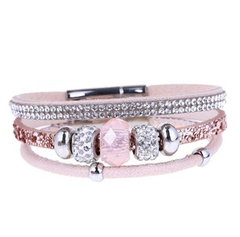 Pink Leather and Diamante Braclet