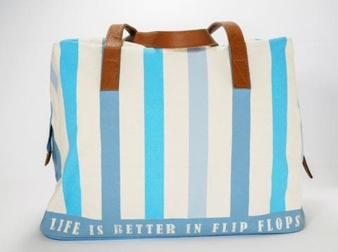 24f2bb1c9 Stripey Leather Handle Beach Bag