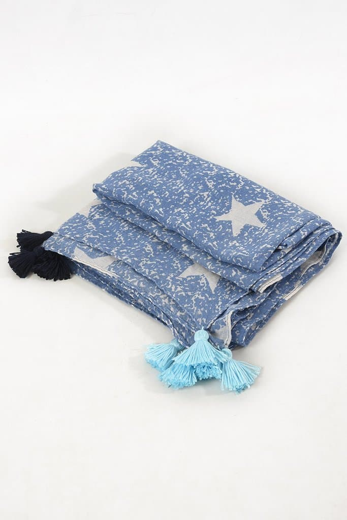 Mottled Star and Tassel Scarf