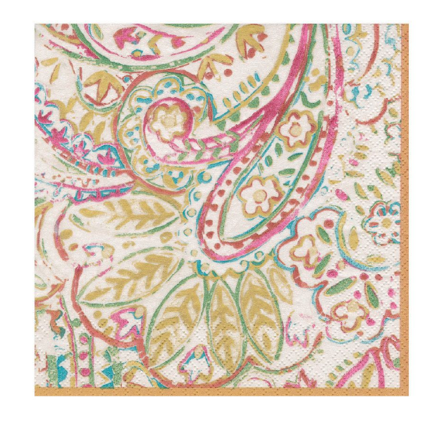 Paper Napkin - Painted Paisley Gold
