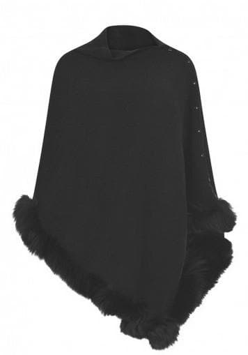 Cashmere and Fur Trimmed Poncho