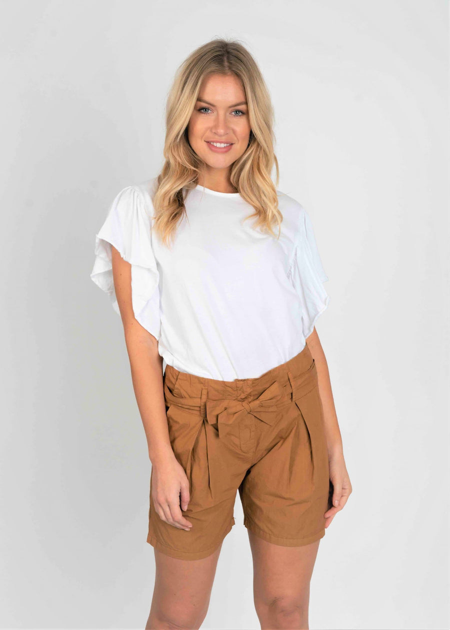 Frill T Shirt and Pleated Cotton Shorts Set - Aurina Ltd