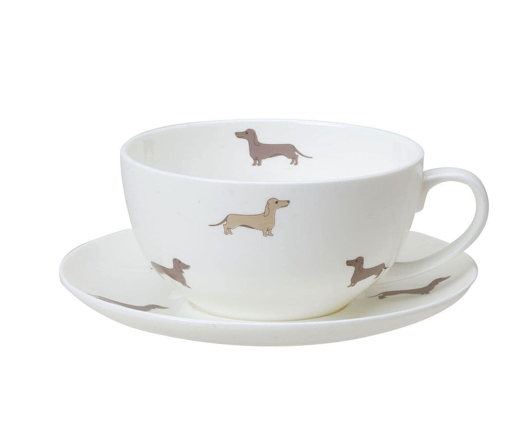 Dachsie Bone China Breakfast Cup and Saucer