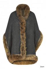 Double Sided Cashmere and Recycled Fur Wrap - Charcoal