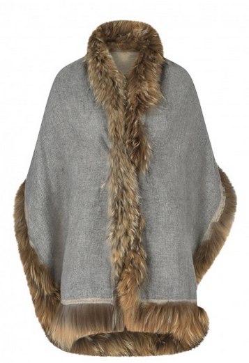 Double Sided Cashmere and Recycled Fur Wrap