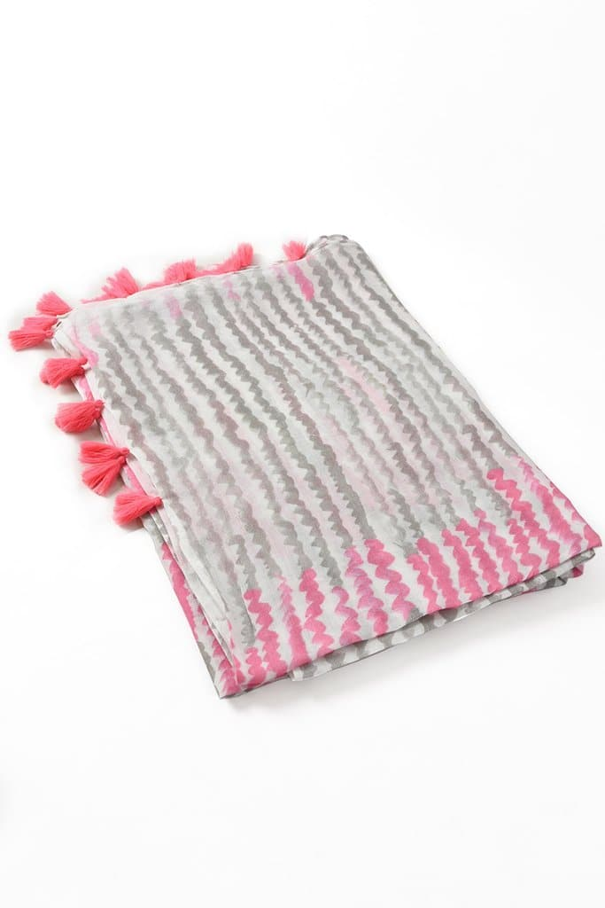 Dusky Pink and Grey Tasseled Zig Zag Scarf - Aurina Ltd