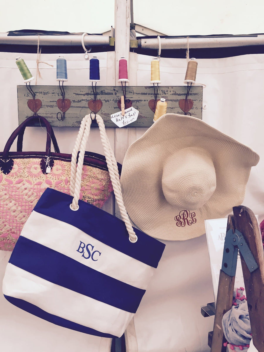 Monogrammed Red & White Rope Bag