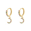 Gold Huggie Earring with Moon Charm and Multicoloured Zircon - Aurina Ltd