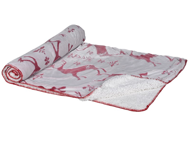 Super Soft Red and White Christmas Throw