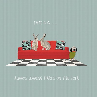 Hares on The Sofa Card - Aurina Ltd