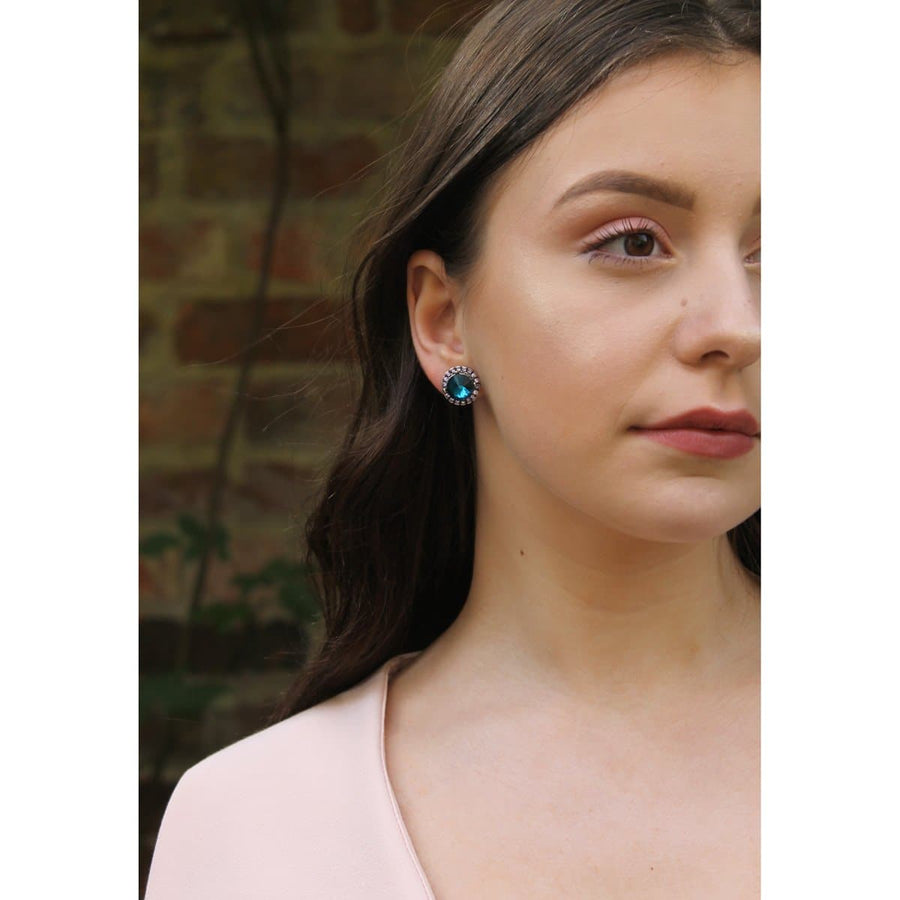 Crystal Disc Earrings - Blue - jewellery - aurina-ltd-2