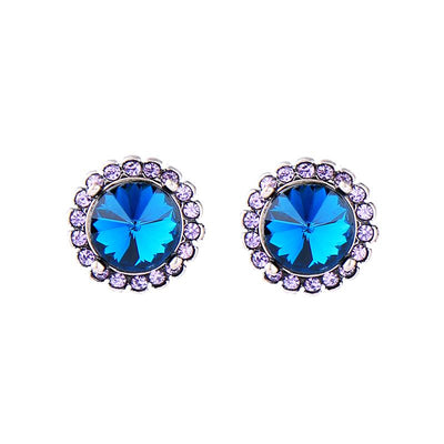 Crystal Disc Earrings - Blue
