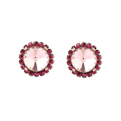 Crystal Disc Earrings - Pink