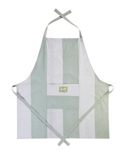 Adult Cooking Apron Wide Stripe Duck Egg & Stone - Aurina Ltd