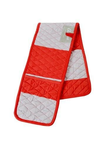 Double Oven Mitt - Wide Stripe Red & Stone