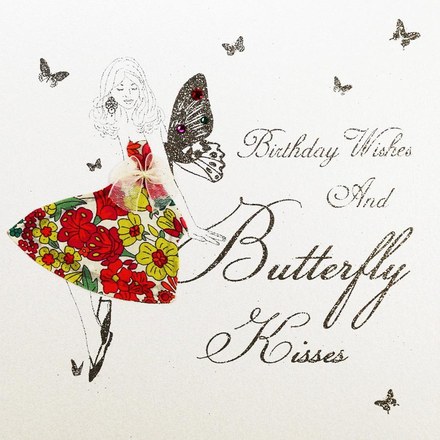 Birthday Wishes and Butterfly Kisses Card - Aurina Ltd