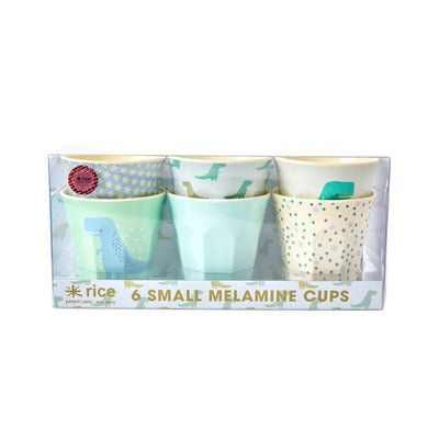 Set of 6 small Melamine Cups - Dinos and Stars