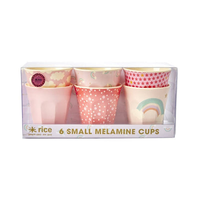 Set of 6 small Melamine Cups - Rainbows and Stars - Aurina Ltd