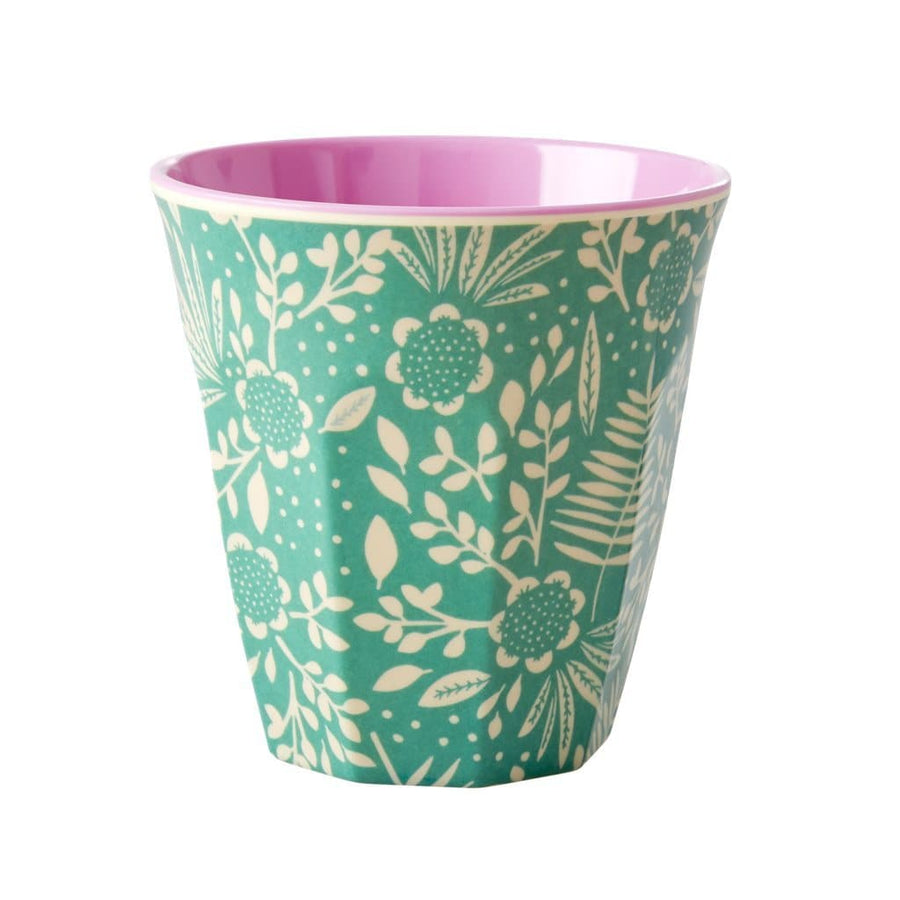 Medium Green Fern & Flower  Melamine Cup -  - aurina-ltd-2