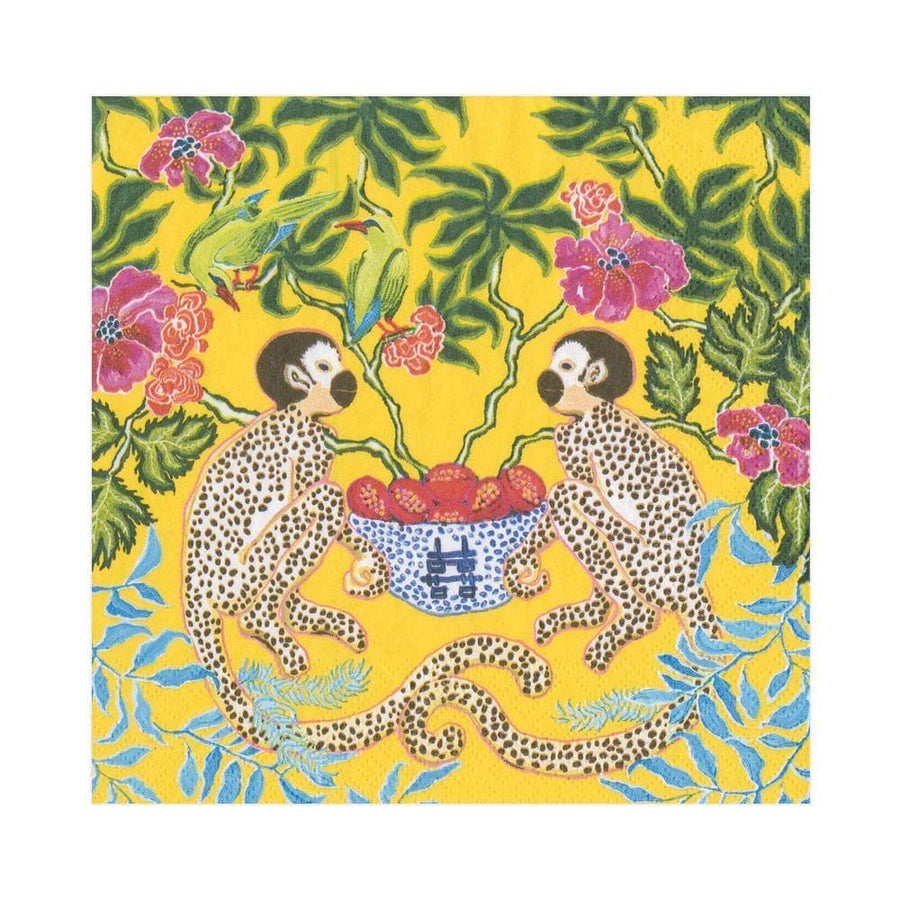 Paper Napkin - Monkeys on Yellow - Aurina Ltd