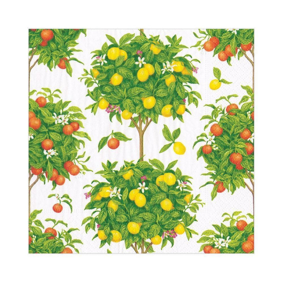 20 Paper Napkins - Citrus Topiaries in White - Aurina Ltd