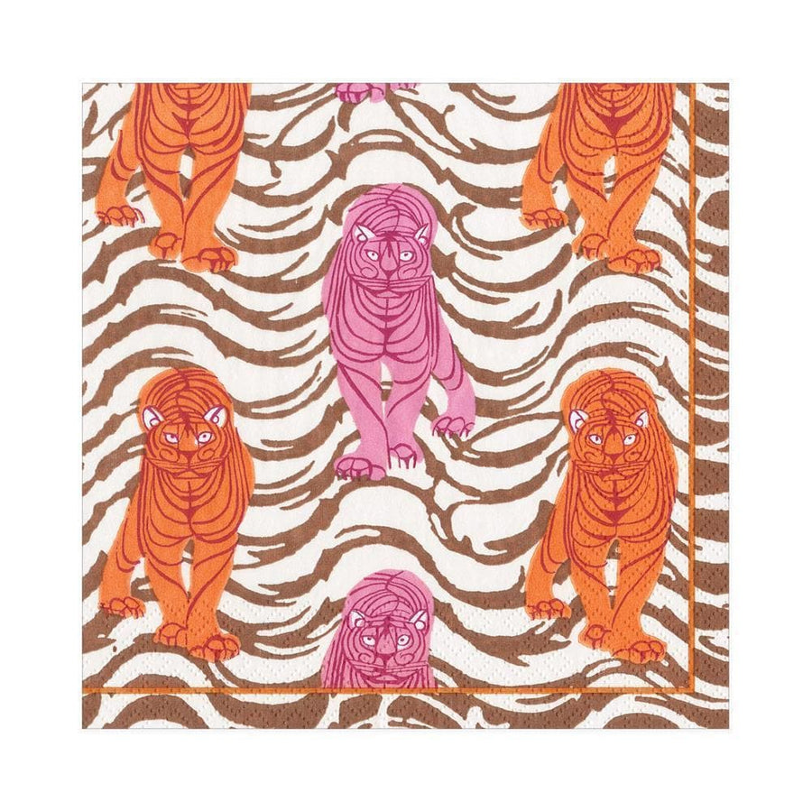 20 Paper Napkins - Tiger Stripe - Orange & Pink - Aurina Ltd