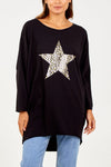 Foil Leopard Star Long Sleeve Top - Aurina Ltd