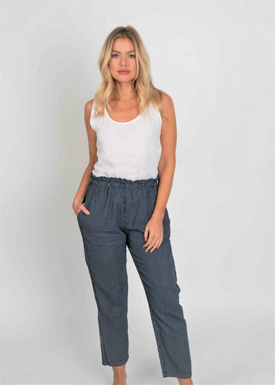 Sheila Pin Stripe Linen Taper Pants - Aurina Ltd