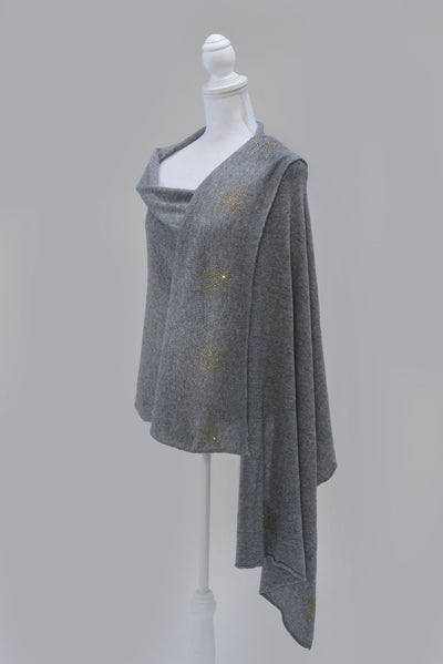 Knitted Cashmere with Crystal Stars Scarf - Aurina Ltd