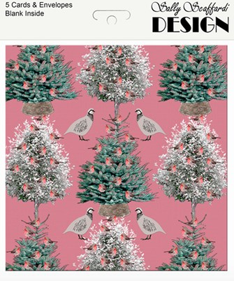 Christmas Card Packs - Trees and Birds on Pink