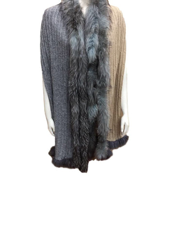 Cable Knit Cashmere and Vintage Fur wrap - Grey and Biscuit