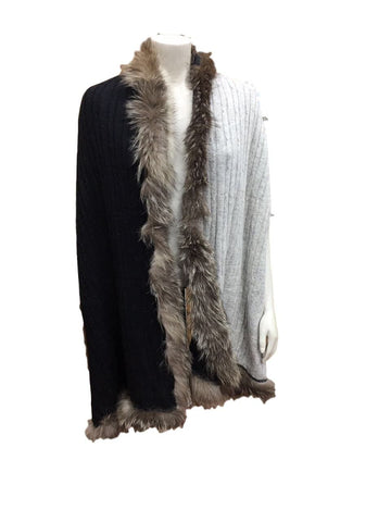 Cable Knit Cashmere and Vintage Fur wrap - Grey and Black