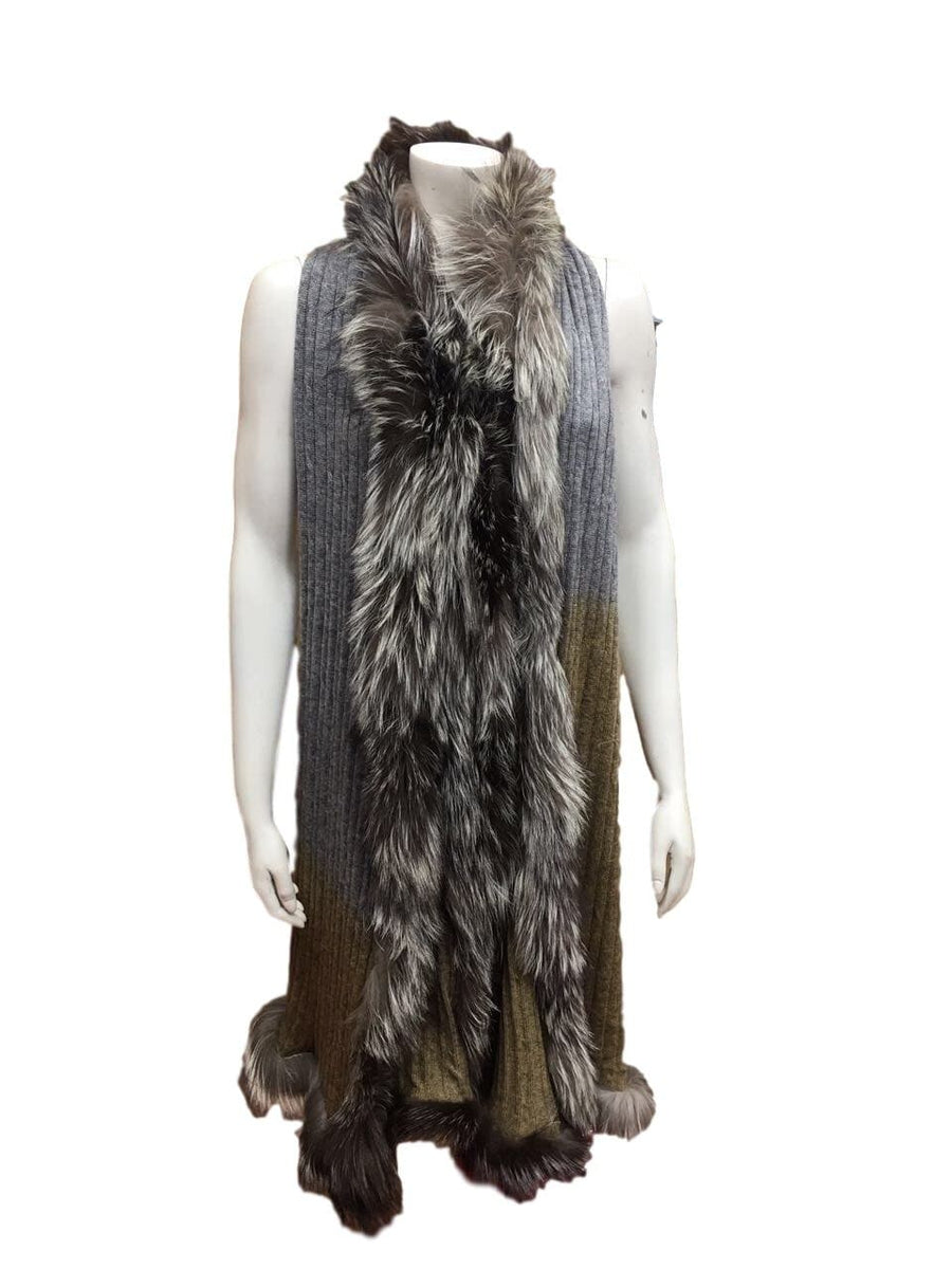 Cable Knit Cashmere and Vintage Fur wrap - Grey and Khaki - Aurina Ltd