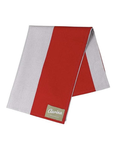 Cotton Tea Towel Wide Stripe -  Red & Stone