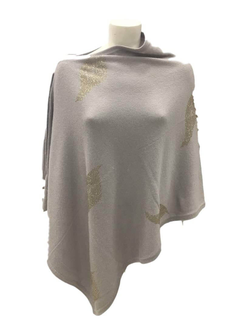 Crystal Embellished Cashmere button Poncho