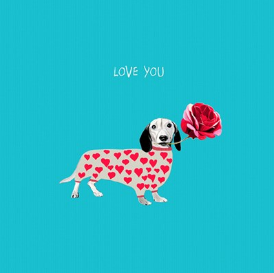 Dachsund and Rose Card