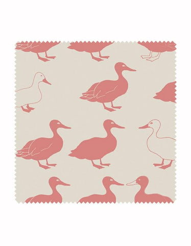 Jemima Duck Print Fabric in Blush & Stone