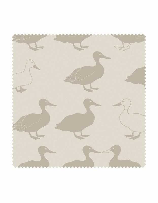 Jemima Duck Wallpaper in Stone & Linen - Aurina Ltd